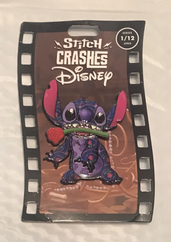 NEW Disney Parks Stitch Crashes Beauty and the Beast Pin Limited LE Jumbo RARE