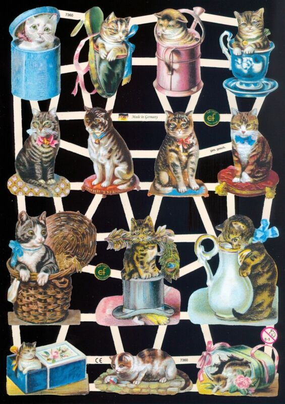 VICTORIAN STYLE DIE CUT PAPER SCRAPS MIXED CatS ef7360 GERMANY
