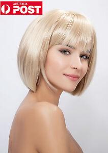 New Blonde Short Lady's Straight Bangs Girl Bob Cosplay Women Hair Full Wig Wigs
