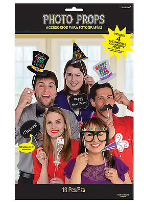 New Photo Booth Ideas (13 New Year Photo Booth Face Photo Props Party Activity Ideas incl 4 Blank)