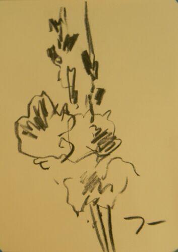 "JOSE TRUJILLO - Original Charcoal Sketch Drawing 9X12"" WILD FLOWER EXPRESSIONIST"