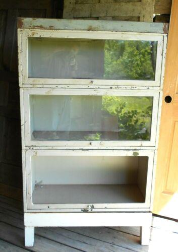 VINTAGE MID CENTURY INDUSTRIAL 3 SECTION GLASS DOOR METAL STACKING BOOKCASE