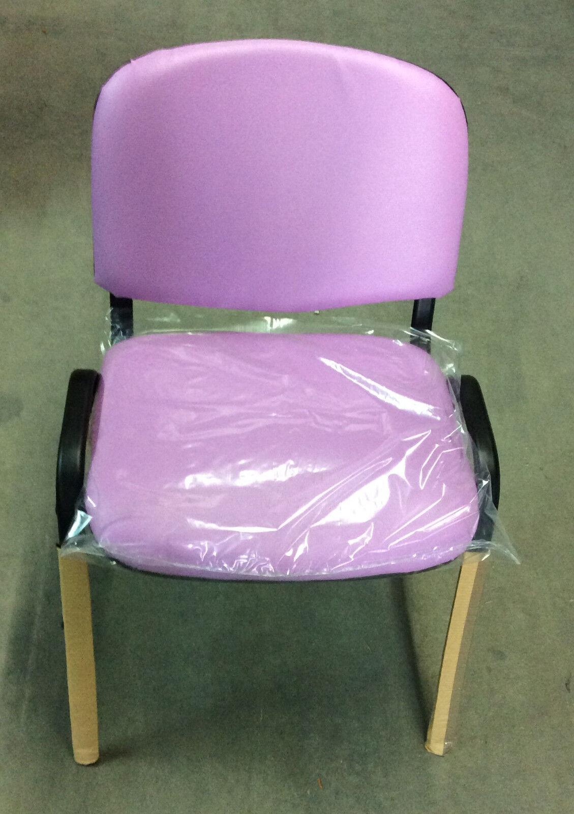 Dettagli su Sedia fissa da ufficio in finta pelle rosa offerta acquisto minimo 10 pezzi