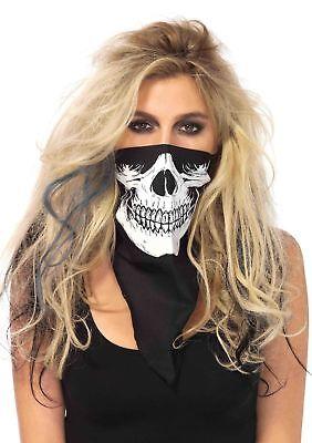 Skull Bandana Handkerchief Skeleton Face Mask Cowboy Scarf 1pk Leg Avenue (Cowboy Bandanas)