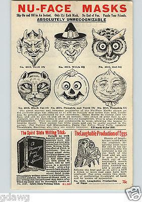 1920's PAPER AD 6 PG Halloween Masks Devil Witch Cat Pumpkin Charlie - Halloween Charlie Chaplin