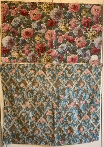 2 Beautiful Early 20th Century French Printed Floral Fabric (Linen & cotton)3358