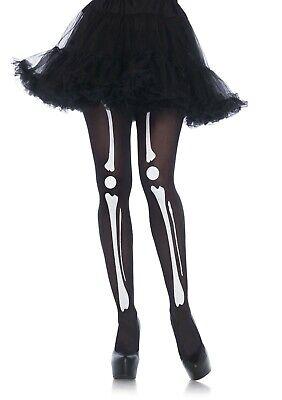 Leg Avenue 7733 Black Skeleton Print Bone Tights - One Size  - Skeleton Leg Tights