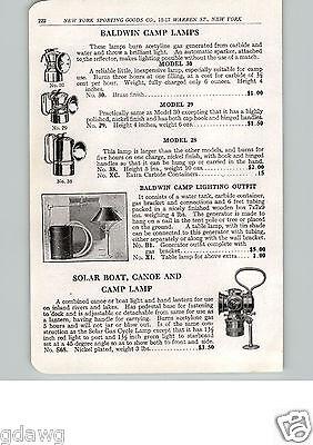 1915 PAPER AD Baldwin Camp Lamp Solar Brand Boat Canoe Camp Light Lantern - Solar Paper Lanterns