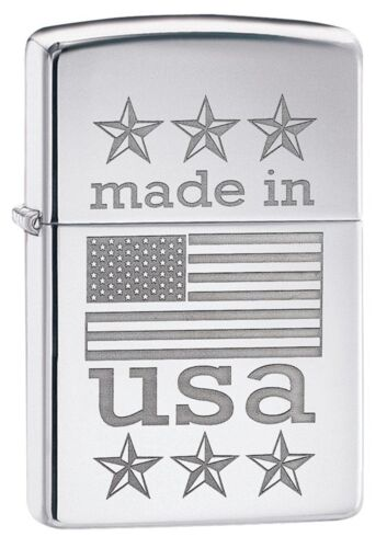 Zippo Windproof Lighter With Made in the USA & American Flag, 29430, New In Box