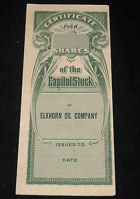 Antique Elkhorn Oil Company Capital Stock Certificate Wyoming 1918 Ww1 Era