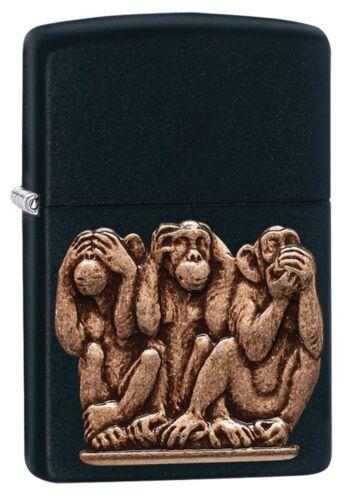 Zippo Windproof Lighter, 3 Monkeys, See, Speak Hear No Evil, 29409, New In Box