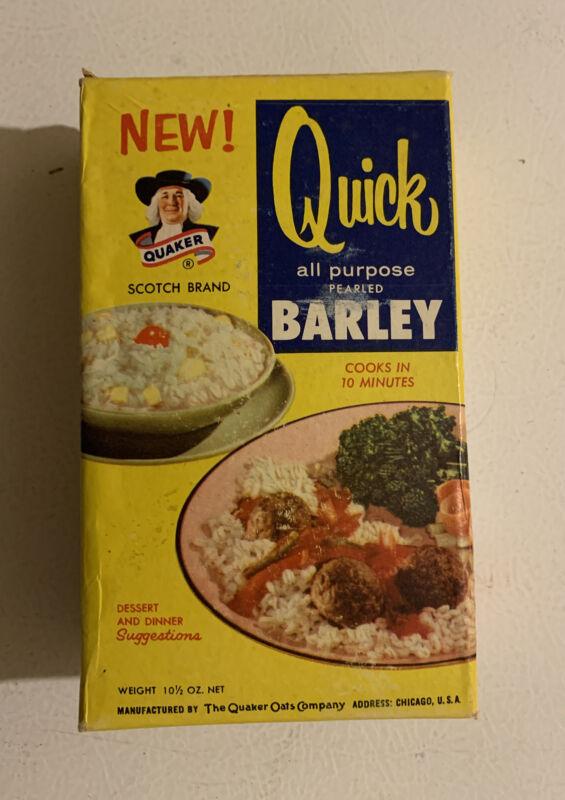 Vintage 1950s Quaker Quick Barley NOS Unopened Full Sealed