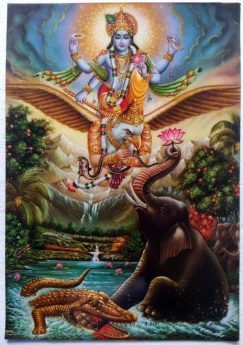 Hindu Religious Old Unique Vintage Paper Laminated Poster Sri Vishnu  12x17 Inch