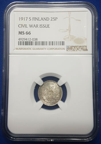 1917-S Finland under Russia Silver 25 Pennia NGC MS66 - A25