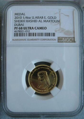 United Arab Emirates-Dubai 2010 1/4oz 9999 Gold Medal NGC PF-68 Ult.Cameo
