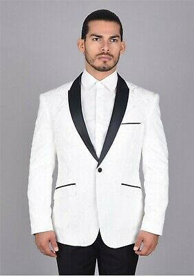 MEN'S WHITE PAISLEY SLIM FIT SUIT WITH BLACK NOTCH LAPEL TRIM AND BLACK PANTS - White Tailored Suit
