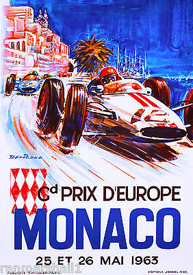 1963 Monaco Grand Prix Automobile Race Car Advertisement Vintage Poster