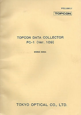 New Topcon Data Collector Fc-1 Ver. 109 Instruction Manual