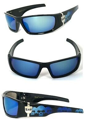 Locs Mens Cholo Biker UV400 Sunglasses - Black (Skull) Blue Flash Lens (Locs Mens Cholo Biker Sunglasses)