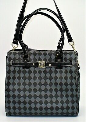 Marc Fisher Belted Check Mate Tote Handbag Shoulder Purse Black Gray Grey -