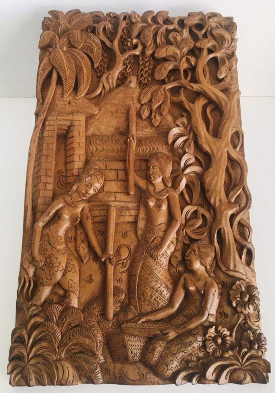 Bali Batuan Hand Carved Wood Wall Hanging Indonesian Wall Art Signed