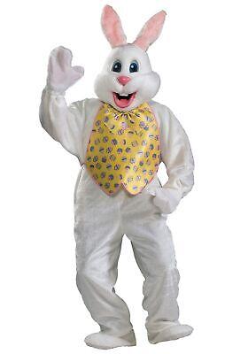 White Rabit Costume (Easter Bunny Rabit Deluxe Adult Mascot Costume Plush Jumpsuit)