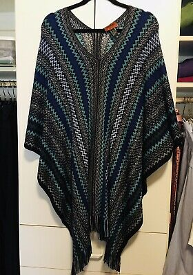 MISSONI Italy Blue Multi Knit Fringe Poncho Sweater Top