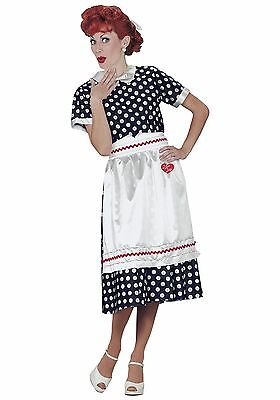 I Love Lucy Costume 3 Pc Blue & Wht Polka Dot 50's Style Dress Apron & Hair Bow