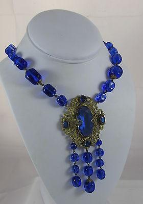 (Antique Czechoslovakia Neiger Royal Blue Cube Glass Bead Pendant Dangle Necklace)