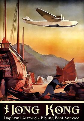 16x24 1936 Imperial Airways Two Decker Flying Boat Vintage Style Travel Poster