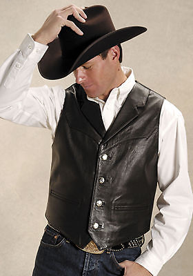 Leather Mens Roper (Roper Mens Brown Cow Nappa Leather Buffalo Nickel Button Western Vest)