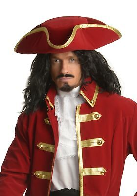 Rum Pirate Hat Captain Morgan Tricorn Buccaneer Red Hook Halloween Costume Cap ()
