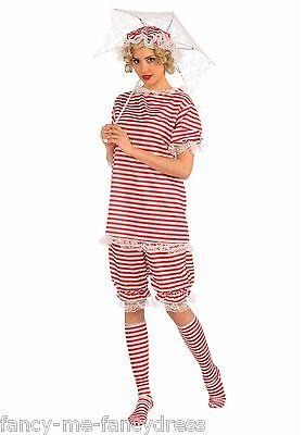 Damen Rote 1920er Jahre Baden Beachside Bettie Badeanzug Kostüm Kleid Outfit ()