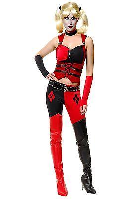 Batman Joker Woman Costume (WOMEN'S SEXY HARLEY QUINN BATMAN VILLAIN JOKER COSTUME SIZE S (with)