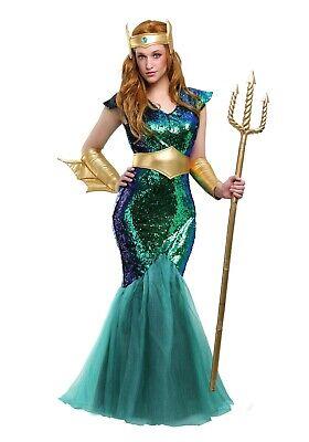 WOMEN'S MERMAID POSEIDON OCEAN QUEEN SEA SIREN COSTUME SIZE M (with defect) - Poseidon Costumes