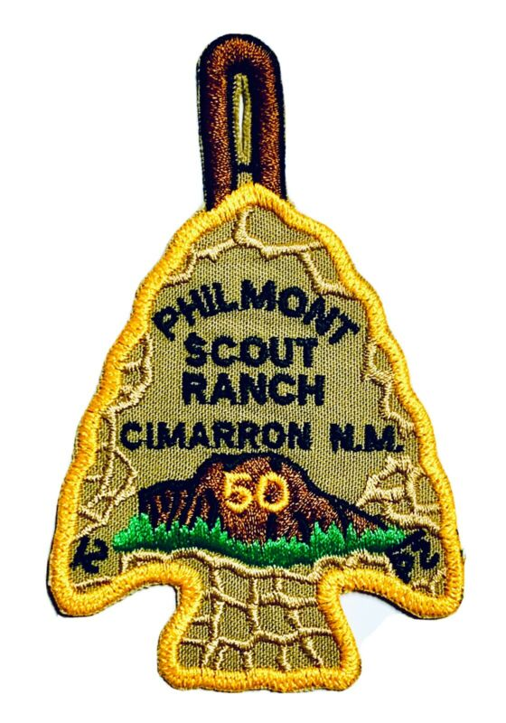 Philmont Scout Ranch 50th Arrowhead Camper Patch w/ Holder Cimarron New Mexico