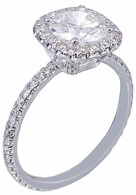 GIA H-SI1 18K White Gold Round Cut Diamond Engagement Ring Halo Prong 2.15ctw 2