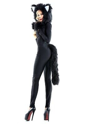 WOMEN'S FURRY FELINE BLACK CAT COSTUME USED SIZE LARGE ()