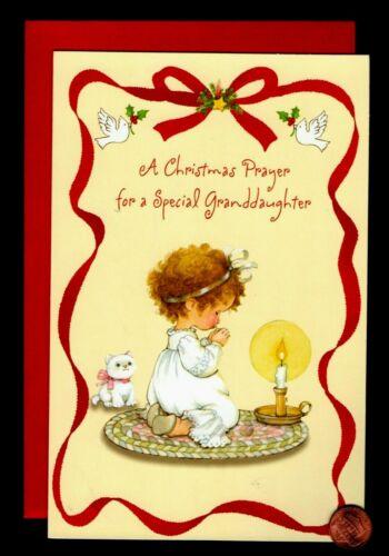 CHRISTMAS Little Girl Praying Cat Kitten Candle For Granddaughter Greeting Card