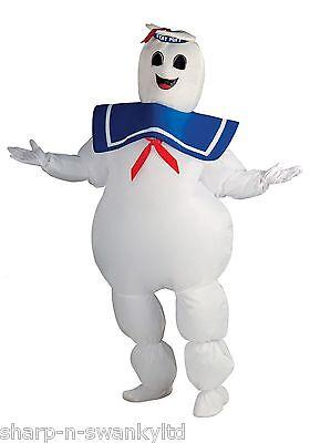 Herren Halloween Stay Puft Ghostbuster Aufblasbar 80er Jahre Kostüm Kleid (Ghostbuster Kostüm Herren)