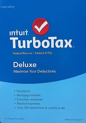 2015 Intuit Turbotax Deluxe Federal Only   E File Brand New Factory Sealed