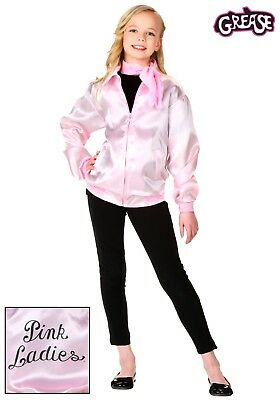 Pink Ladies Jacket Grease Child Girl Retro Costume Satin Scarf CHRISTMAS gift - Kids Pink Lady Jacket