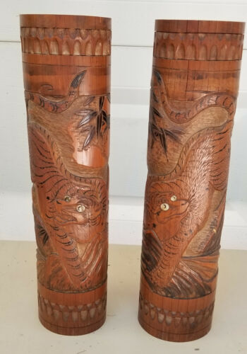 PAIR of VERY LARGE ANTIQUE HAND CARVED BAMBOO JAPANESE BRUSH POTS ~ 18""