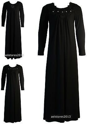 Gesticktes Langes Kleid (Mädchen Schwarze Perlen Diamante Blumenspitze Gesticktes Lang Maxi Kleid Abaya)
