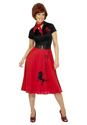 WOMENS 50s RED and BLACK POODLE SKIRT COSTUME SIZE MEDIUM (with - Red Poodle Skirt Costume