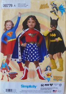 Simplicity 1035 Girls Wonder Woman Bat Girl Costumes Sewing Pattern Sz 3-8