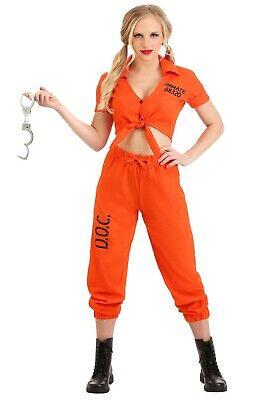 Prisoner Costumes For Women (WOMEN'S ORANGE INMATE PRISONER COSTUME SIZE SMALL (with)