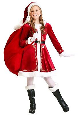 Mrs Claus Costume For Girls (GIRLS SANTA MRS. CLAUS DRESS COSTUME SIZE 4T, M 8-10, L 12-14 (with)