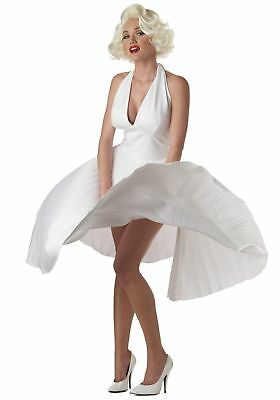 NEW Womens Movie Star Sexy MARILYN MONROE PLEATED DRESS Halloween Costume SZ M