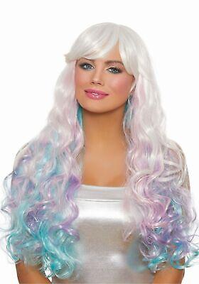 Unicorn Costume Wig (Dreamgirl Long Wavy Rainbow Costume Wig Curly Women's Unicorn Fairy Mermaid)